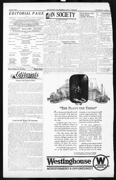 Daily Trojan, Vol. 16, No. 85, April 16, 1925