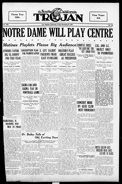 The Southern California Trojan, Vol. 13, No. 28, December 09, 1921