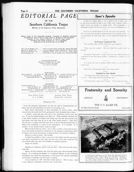 The Southern California Trojan, Vol. 8, No. 61, February 02, 1917