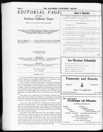The Southern California Trojan, Vol. 8, No. 71, February 21, 1917
