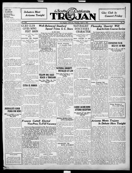 The Southern California Trojan, Vol. 14, No. 74, April 05, 1923