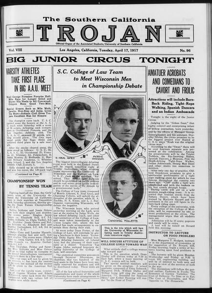 The Southern California Trojan, Vol. 8, No. 96, April 17, 1917