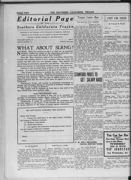 The Southern California Trojan, Vol. 11, No. 6, October 21, 1919