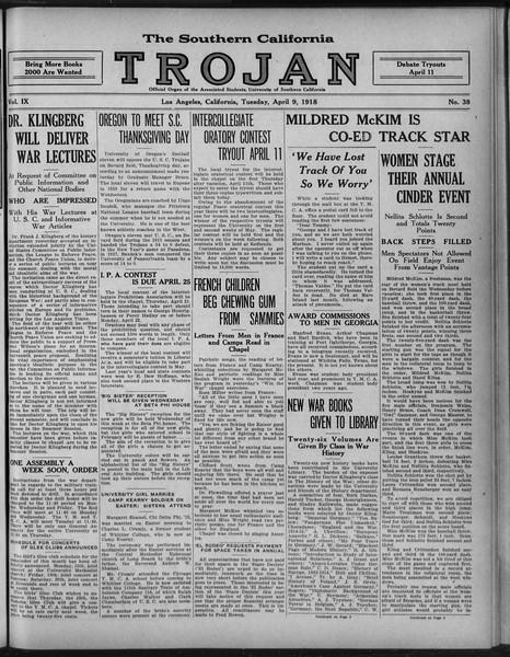 The Southern California Trojan, Vol. 9, No. 38, April 09, 1918