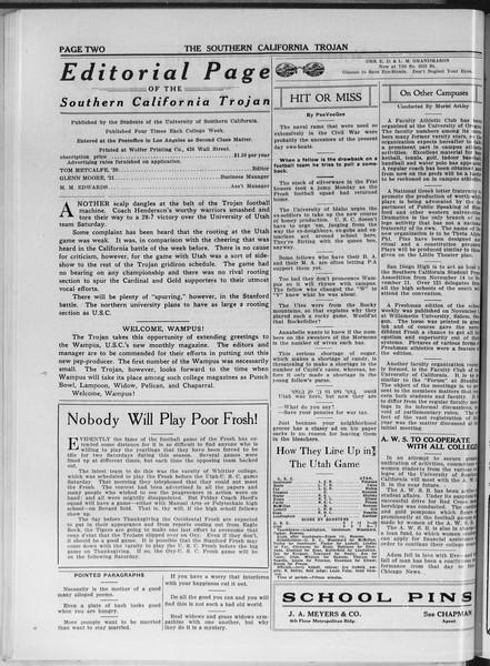 The Southern California Trojan, Vol. 11, No. 20, November 18, 1919