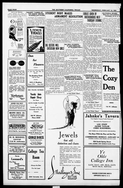 The Southern California Trojan, Vol. 13, No. 44, February 15, 1922