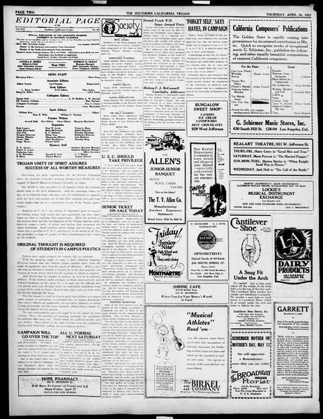 The Southern California Trojan, Vol. 14, No. 83, April 26, 1923