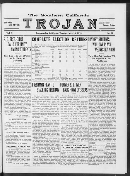 The Southern California Trojan, Vol. 10, No. 22, May 13, 1919
