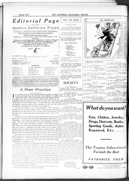 The Southern California Trojan, Vol. 11, No. 71, March 17, 1920