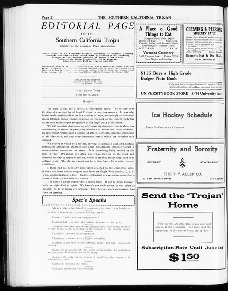The Southern California Trojan, Vol. 8, No. 77, March 07, 1917