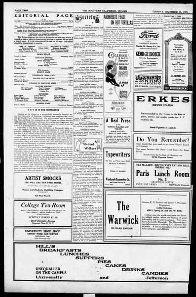 The Southern California Trojan, Vol. 13, No. 29, December 13, 1921