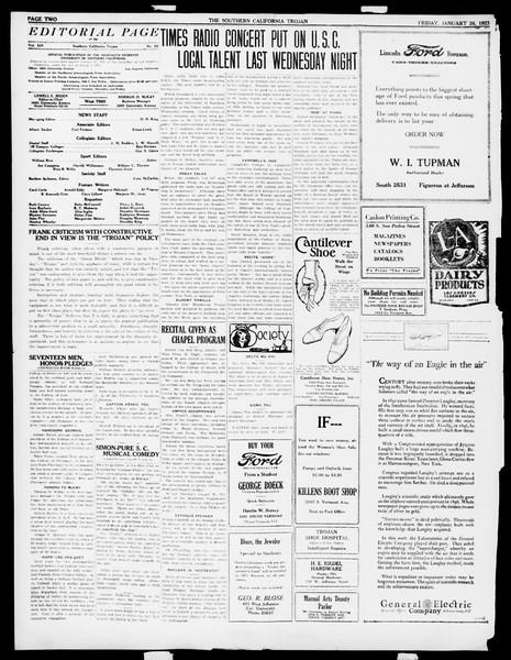 The Southern California Trojan, Vol. 14, No. 52, January 26, 1923