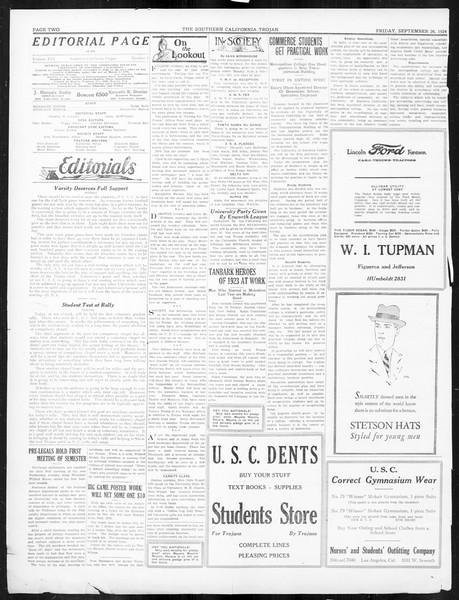 The Southern California Trojan, Vol. 16, No. 4, September 26, 1924