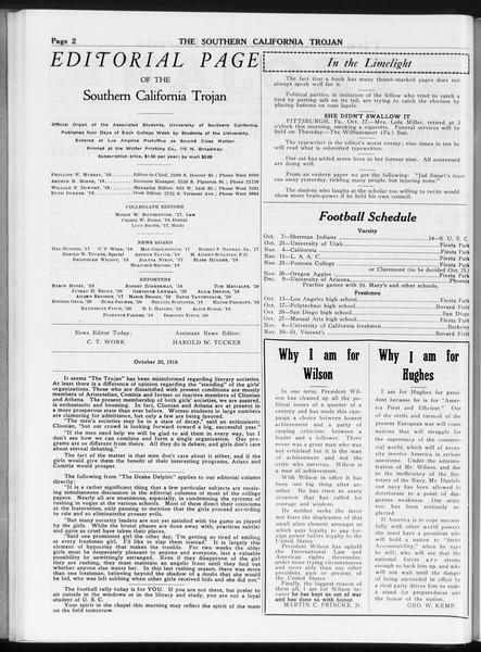 The Southern California Trojan, Vol. 8, No. 20, October 20, 1916