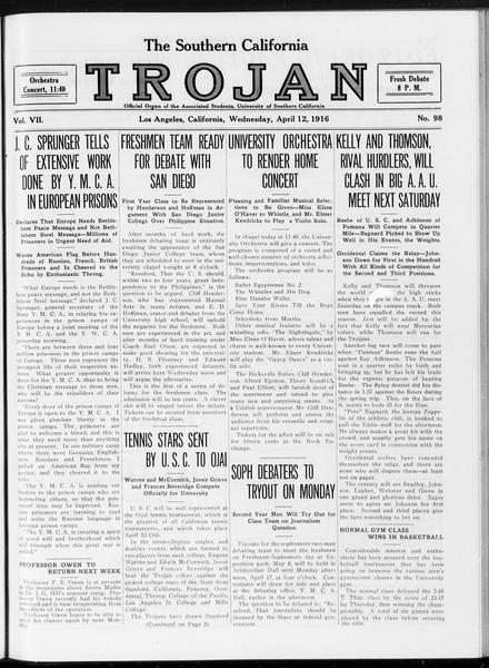 The Southern California Trojan, Vol. 7, No. 98, April 12, 1916