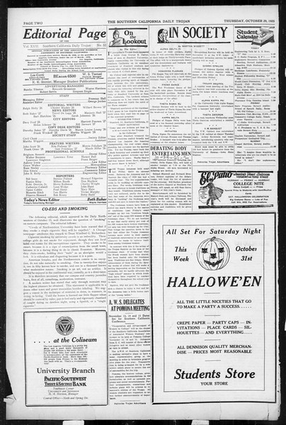 Daily Trojan, Vol. 17, No. 32, October 29, 1925