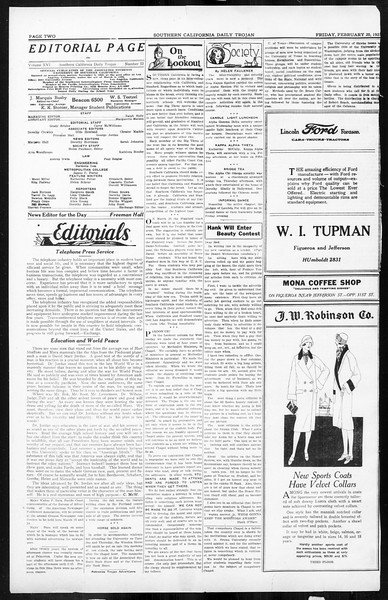 Daily Trojan, Vol. 16, No. 53, February 20, 1925