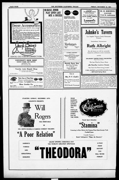 The Southern California Trojan, Vol. 13, No. 31, December 16, 1921