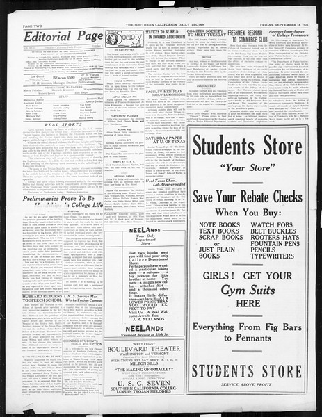 Daily Trojan, Vol. 17, No. 3, September 18, 1925