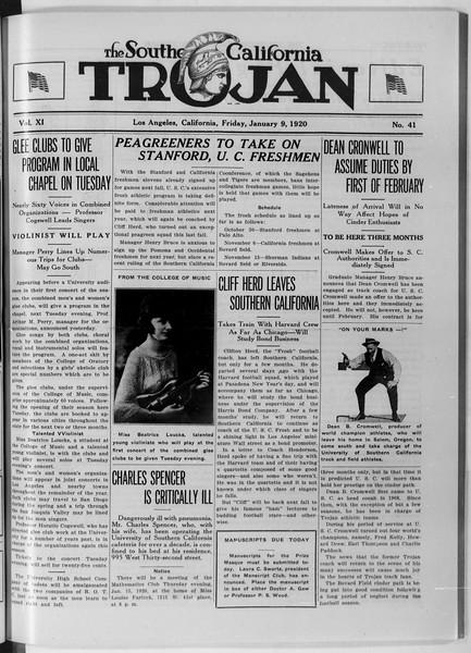 The Southern California Trojan, Vol. 11, No. 41, January 09, 1920