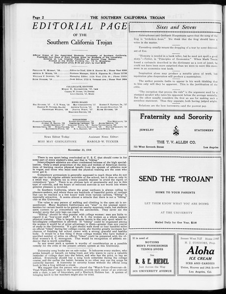 The Southern California Trojan, Vol. 8, No. 37, November 23, 1916
