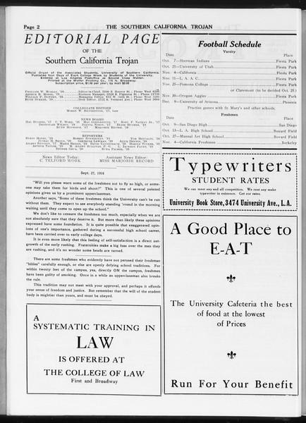The Southern California Trojan, Vol. 8, No. 6, September 27, 1916