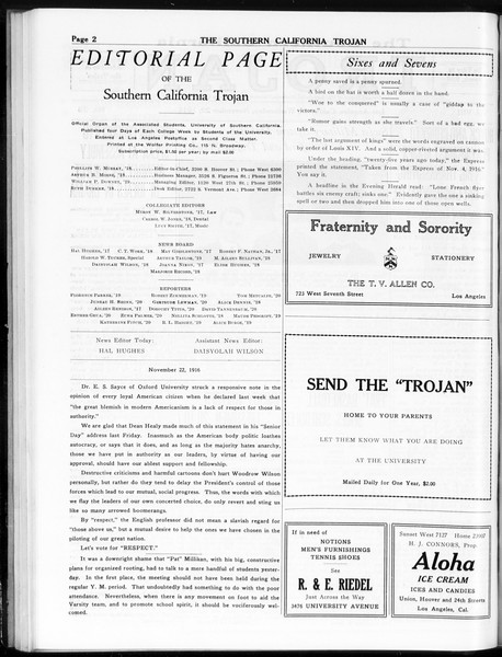 The Southern California Trojan, Vol. 8, No. 36, November 22, 1916