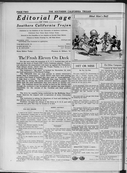 The Southern California Trojan, Vol. 11, No. 22, November 20, 1919