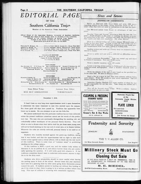 The Southern California Trojan, Vol. 8, No. 43, December 07, 1916
