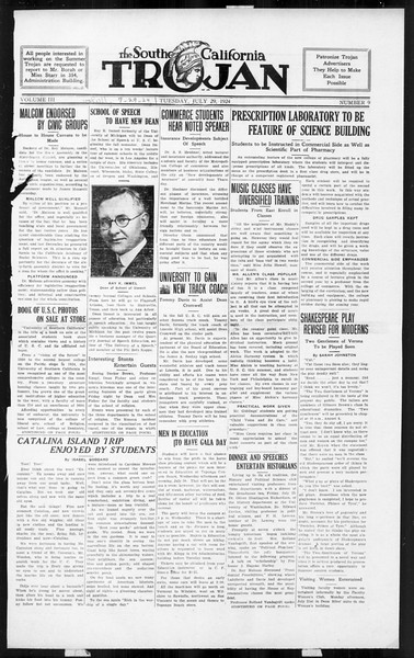 The Southern California Trojan, Vol. 3, No. 9, July 29, 1924