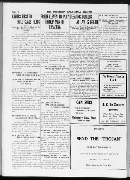 The Southern California Trojan, Vol. 8, No. 4, September 22, 1916
