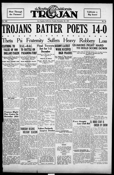 The Southern California Trojan, Vol. 13, No. 22, November 22, 1921