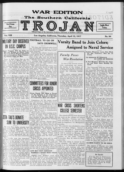 The Southern California Trojan, Vol. 8, No. 94, April 12, 1917
