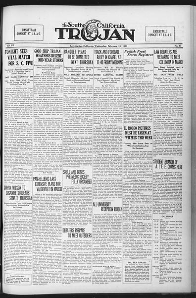 The Southern California Trojan, Vol. 12, No. 57, February 16, 1921