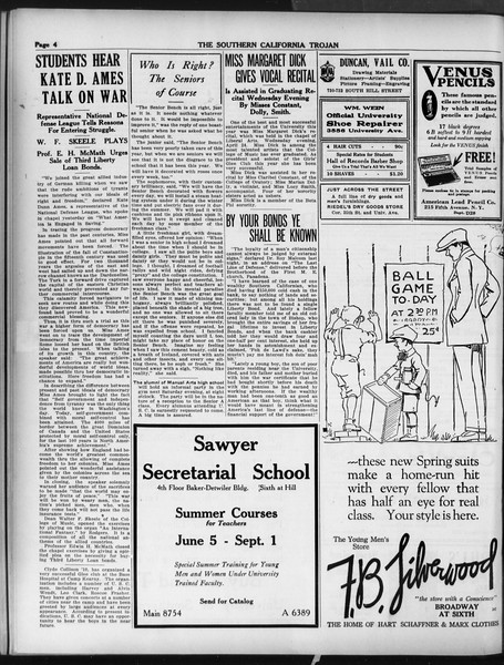The Southern California Trojan, Vol. 9, No. 42, April 20, 1918