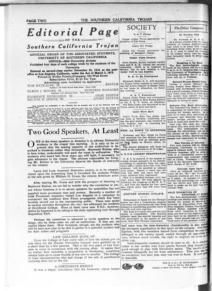 The Southern California Trojan, Vol. 11, No. 59, February 25, 1920