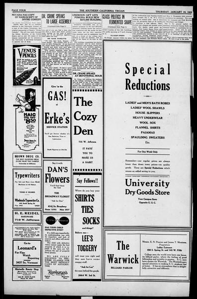 The Southern California Trojan, Vol. 13, No. 38, January 19, 1922