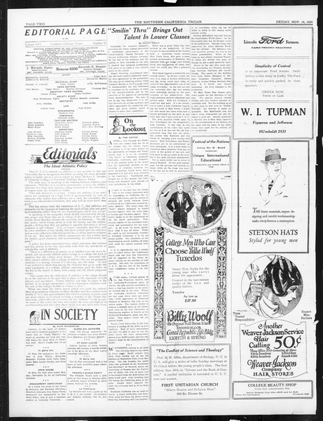 The Southern California Trojan, Vol. 16, No. 23, November 14, 1924