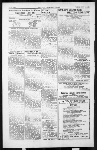 The Southern California Trojan, Vol. 4, No. 8, July 24, 1925