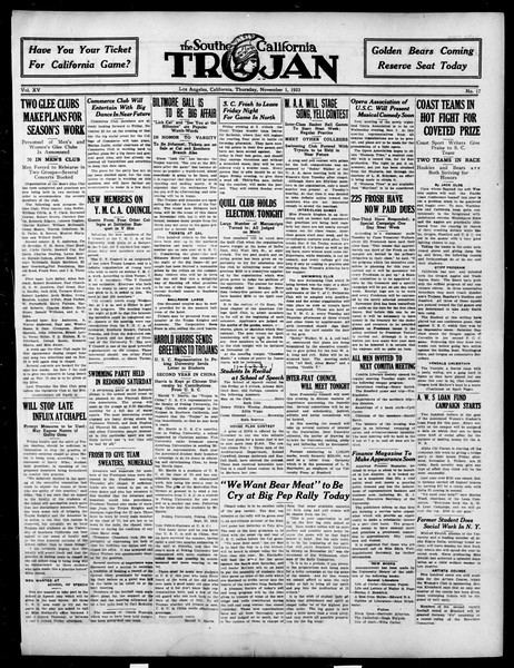 The Southern California Trojan, Vol. 15, No. 17, November 01, 1923