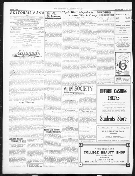 The Southern California Trojan, Vol. 16, No. 9, October 09, 1924