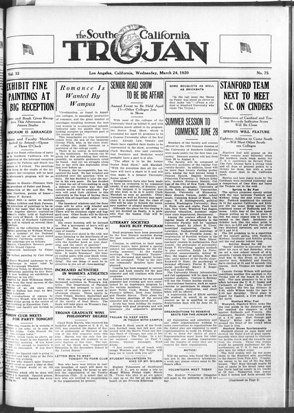 The Southern California Trojan, Vol. 11, No. 75, March 24, 1920