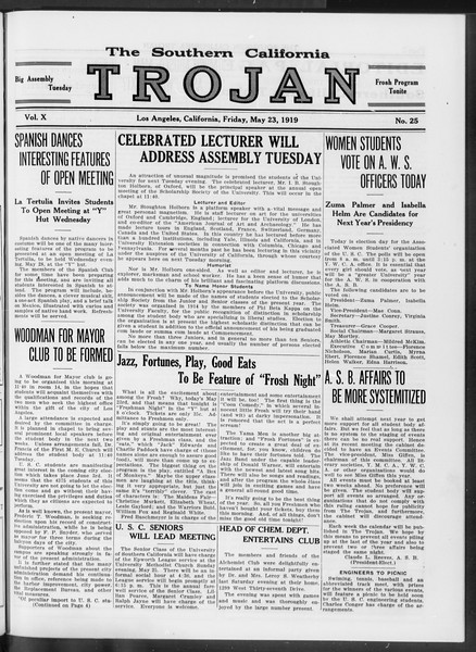 The Southern California Trojan, Vol. 10, No. 25, May 23, 1919