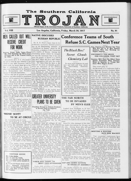 The Southern California Trojan, Vol. 8, No. 91, March 30, 1917