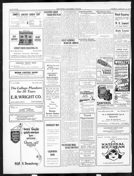 The Southern California Trojan, Vol. 16, No. 42, January 20, 1925