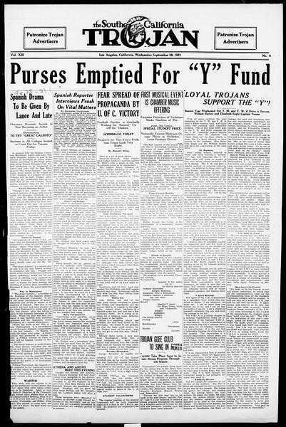 The Southern California Trojan, Vol. 13, No. 4, September 28, 1921