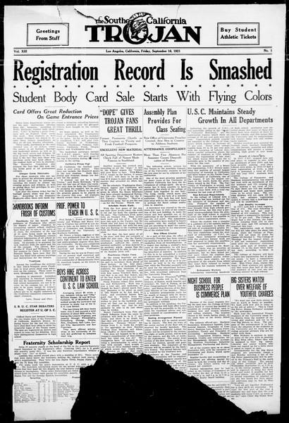 The Southern California Trojan, Vol. 13, No. 1, September 16, 1921