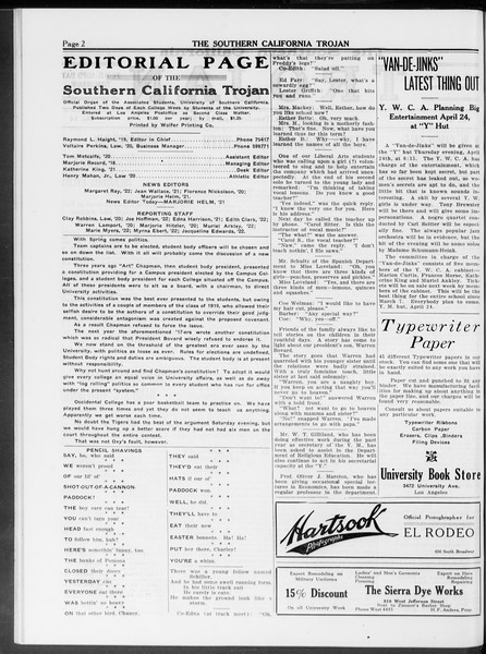 The Southern California Trojan, Vol. 10, No. 14, April 15, 1919