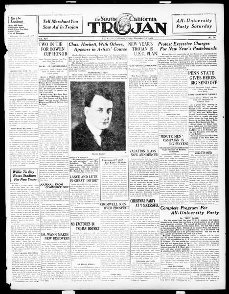 The Southern California Trojan, Vol. 14, No. 38, December 15, 1922