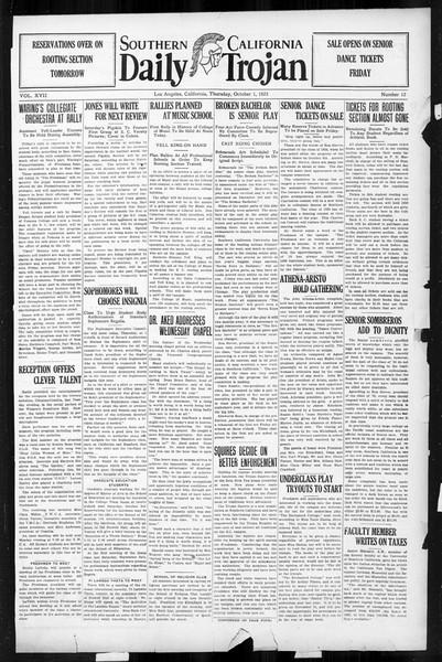 Daily Trojan, Vol. 17, No. 12, October 01, 1925